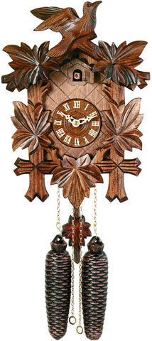 Eight Day Cuckoo Clock with Five Hand-carved Maple Leaves and One Bird - 13 Inches Tall - Peazz.com