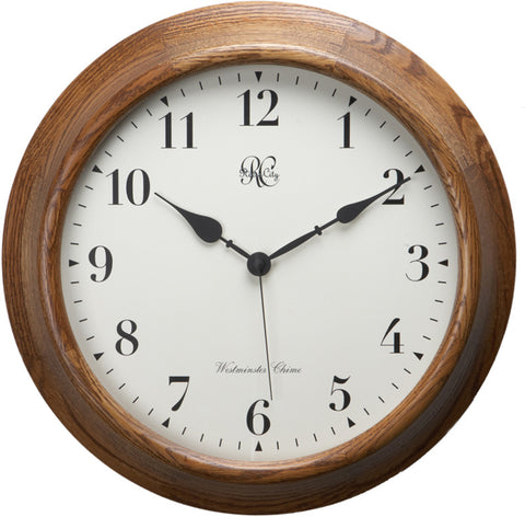 15 Inch Wood Wall Clock with Four Different Chiming Options - Peazz.com