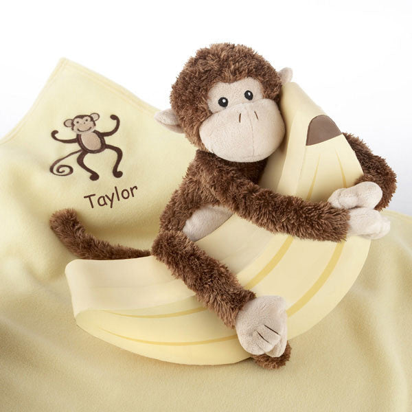 "Plush ""monkey Magoo And Blankie Too!"" In Keepsake Banana Gift Box (personalization Available)"