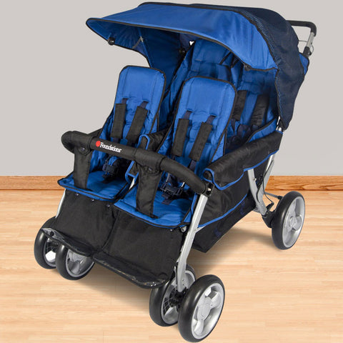 Foundations The LX4 ™ 4-Passenger / Dual Canopy Folding Stroller - Regatta - 4140037 - Peazz.com