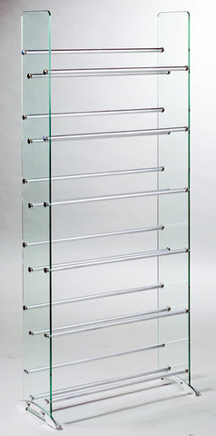 TransDeco TD019S Clear Glass CD/DVD Rack, 6 Shelves In Brushed Silver/Chrome Caps - Peazz.com