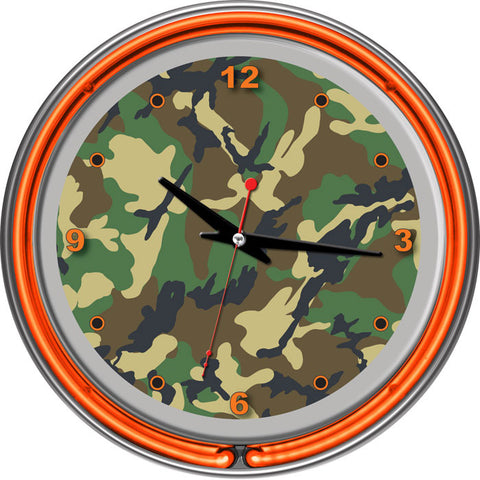 Adg Source Hunt1400-Camo Hunt Camo Chrome Double Ring Neon Clock - Peazz.com