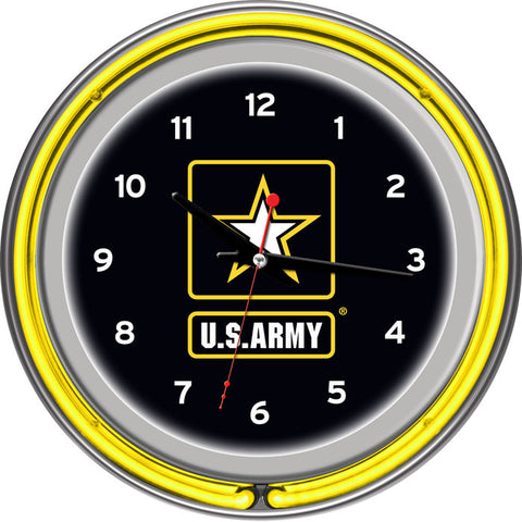Army1400 U.S. Army Chrome Double Ring Neon Clock - Peazz.com