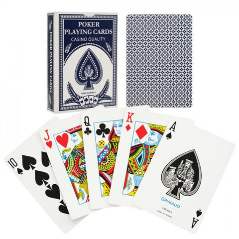Grimaud 10-888Blu Grimaud Poker Size Playing Cards - Blue - Peazz.com