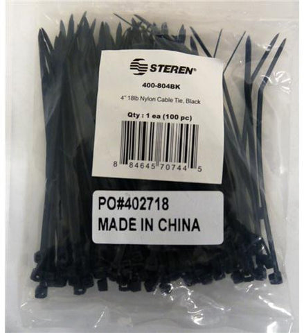 "Steren ST-400-804BK 4"" Black Nylon Ties 100 Pack - Peazz.com"