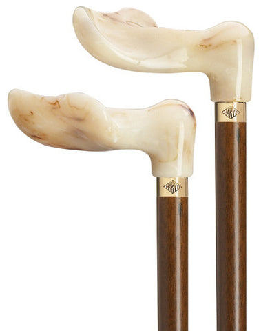 Harvy White Marbleized Palm Grip Cane - Peazz.com