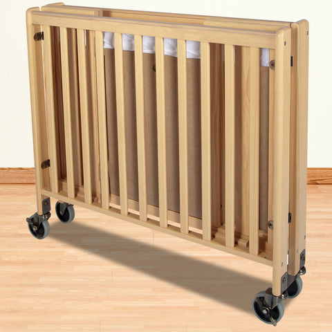 Foundations Solid Wood Full-Size HideAway™ Folding Fixed-Side Crib - Natural - 1011042 - Peazz.com