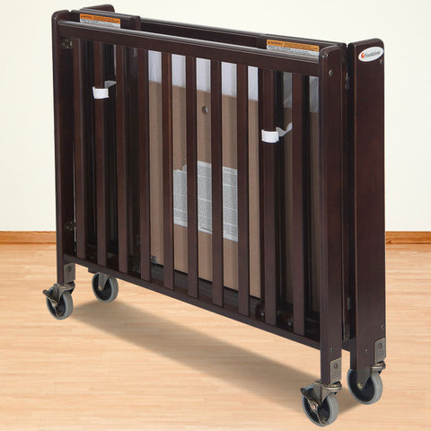 Foundations Solid Wood Full-Size HideAway™ Folding Fixed-Side Crib - Antique Cherry - 1011852 - Peazz.com