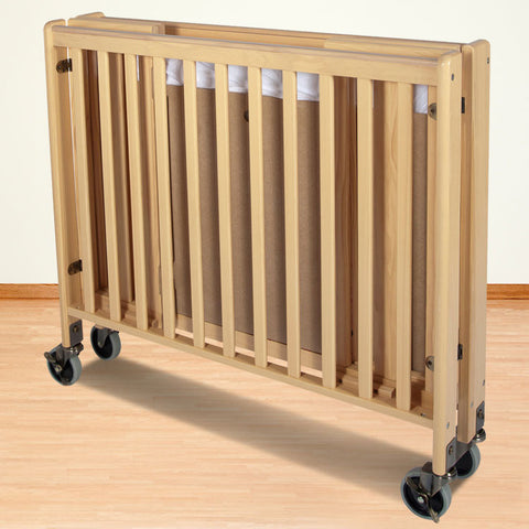Foundations Solid Wood Compact HideAway™ Folding Fixed-Side Crib - Natural - 1031042 - Peazz.com