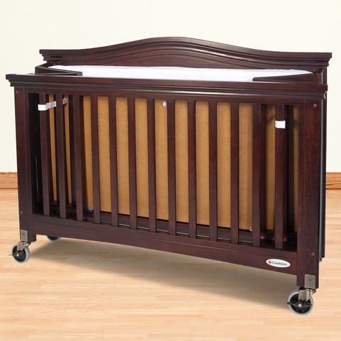 Foundations Solid Wood Full-Size Royale™ Folding Fixed-Side Crib - Antique Cherry - 1111852 - Peazz.com