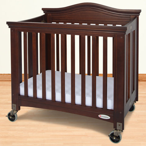 Foundations Solid Wood Compact Royale™ Folding Fixed-Side Crib - Antique Cherry - 1131852 - Peazz.com
