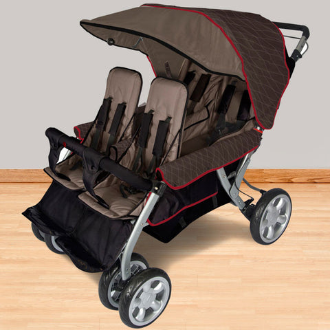 Foundations The LX4 ™ 4-Passenger / Dual Canopy Folding Stroller - EarthScape - 4140167 - Peazz.com