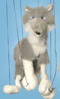 "16"" Grey Wolf Marionette Small - Peazz.com"