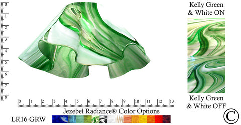 "Jezebel Radiance® Large Lily Kelly Green and White Glass Pendant/Ceiling Fan Light Replacement Glass Shade, 1 5/8"" hole - Peazz.com"