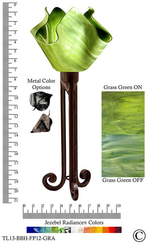 Jezebel Radiance® Torch Light. Hardware: Brown with Brown Highlights. Glass: Grass Green, Flame Style - Peazz.com