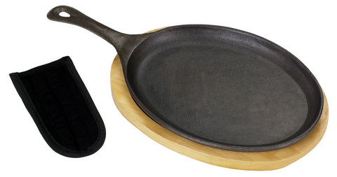 Bayou Classic Cast Iron Fajita Pan And Wooden Tray Set - Peazz.com