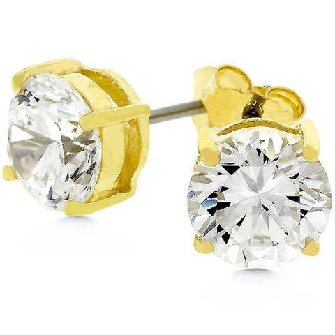3ct 7mm Round CZ 14k Gold Bonded Sterling Silver Stud Earrings - Peazz.com