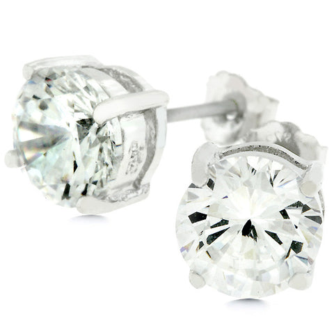 7mm Round Cut Stud Earrings - Peazz.com