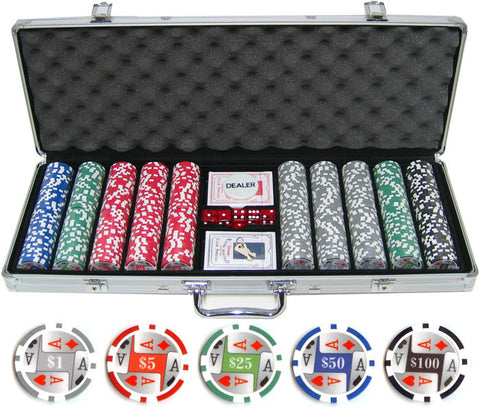 11.5g 500pc 4 Aces Poker Chip Set - Peazz.com