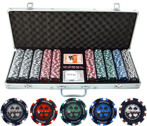 13.5g 500pc Pro Poker Clay Poker Set - Peazz.com