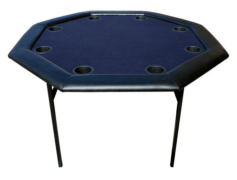 48 inch Octagon Poker Table w/ Folding Legs - Blue out of stock - Peazz.com