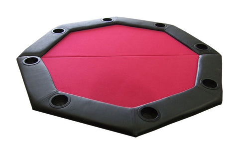 Padded Octagon Folding Poker Table Top w/ Cup Holders - Red - Peazz.com