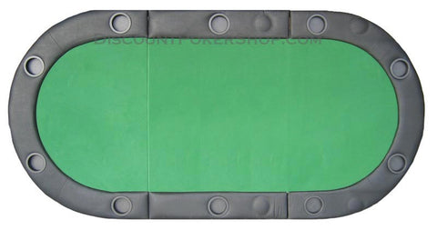 Padded Texas Hold'em Folding Poker Table Top w/ Cup Holders - Green - Peazz.com