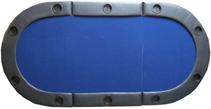Padded Texas Hold'em Folding Poker Table Top w/ Cup Holders - Blue