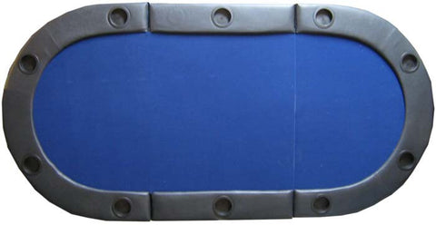Padded Texas Hold'em Folding Poker Table Top w/ Cup Holders - Blue - Peazz.com
