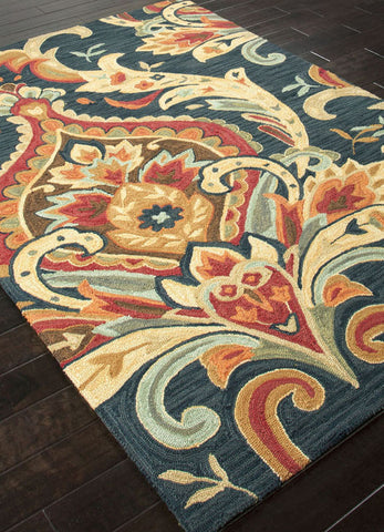 Jaipur Rugs RUG100824 Hand-Tufted Floral Pattern Polyester Blue/Red Area Rug ( 2x3 ) - Peazz.com - 1