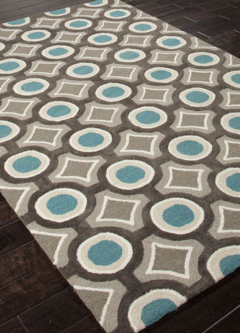Jaipur Rugs RUG100834 Hand-Tufted Geometric Pattern Polyester Gray/Blue Area Rug ( 7.6x9.6 ) - Peazz.com - 1