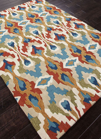 Jaipur Rugs RUG100883 Hand-Tufted Tribal Pattern Polyester Blue/Red Area Rug ( 2x3 ) - Peazz.com - 1