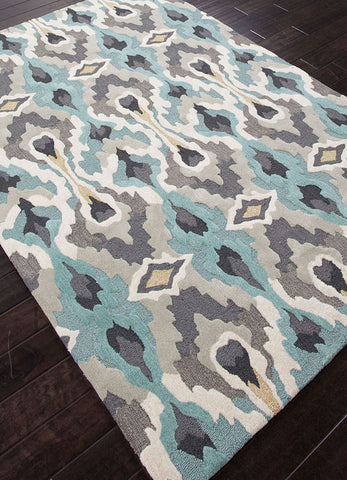 Jaipur Rugs RUG100891 Hand-Tufted Tribal Pattern Polyester Blue/Ivory Area Rug ( 2x3 ) - Peazz.com - 1