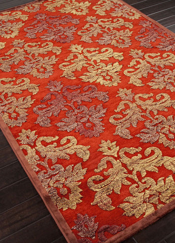 Jaipur Rugs RUG101576 Machine Made Floral Pattern Art Silk/ Chenille Red/Yellow Area Rug ( 9x12 ) - Peazz.com - 1