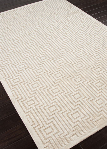 Jaipur Rugs RUG101596 Machine Made Geometric Pattern Art Silk/ Chenille Ivory/Taupe Area Rug ( 9x12 ) - Peazz.com - 1