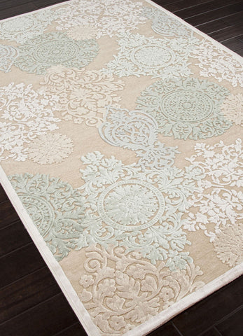 Jaipur Rugs RUG101612 Machine Made Floral Pattern Art Silk/ Chenille Ivory/Blue Area Rug ( 9x12 ) - Peazz.com - 1