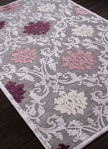 Jaipur Rugs RUG101640 Machine Made Floral Pattern Art Silk/ Chenille Gray/Purple Area Rug ( 9x12 ) - Peazz.com - 1