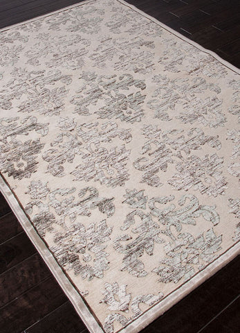 Jaipur Rugs RUG101676 Machine Made Floral Pattern Art Silk/ Chenille Ivory/Gray Area Rug ( 9x12 ) - Peazz.com - 1