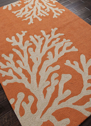 Jaipur Rugs RUG101883 Indoor-Outdoor Coastal Pattern Polypropylene Orange/Ivory Area Rug ( 7.6x9.6 ) - Peazz.com - 1