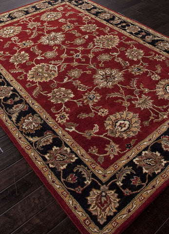 Jaipur Rugs RUG103056 Hand-Tufted Oriental Pattern Wool Red/Black Area Rug ( 4x6 ) - Peazz.com - 1