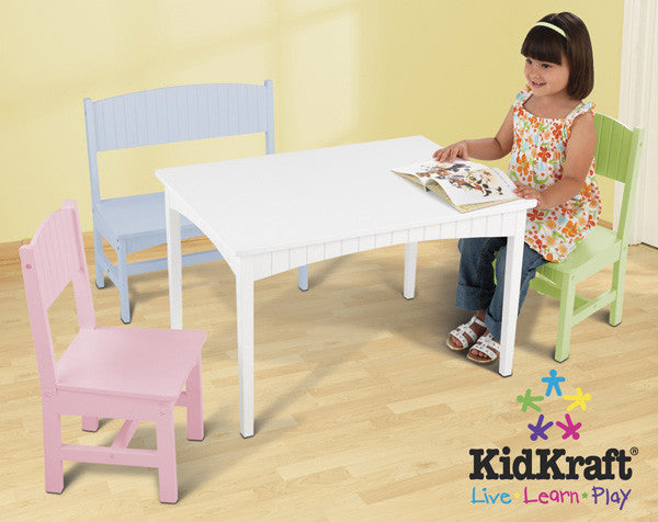 Kidkraft Nantucket Table With Bench And 2 Chairs Pastel
