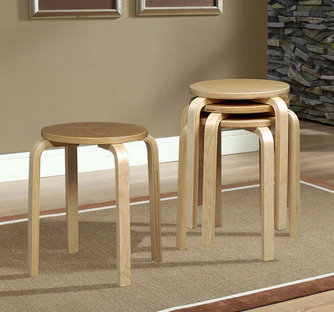 "17"" Bentwood Stool - Natural - 1771NAT-04-AS-U (4 Pack) - Peazz Furniture"