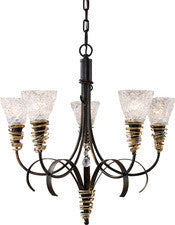 Landmark Lighting 08046-BKG Equinox Five Light Chandelier in Black w/ Gold Highlights - Peazz.com