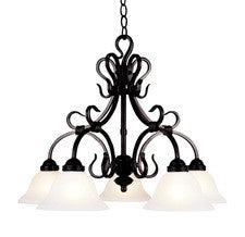 Landmark Lighting 245-BK Buckingham Five Light Chandelier in Matte Black - Peazz.com