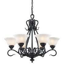 Landmark Lighting 256-BK Buckingham Six Light Chandelier in Matte Black - Peazz.com