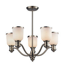 Landmark Lighting 66163-5 Brooksdale Five Light Chandelier in Satin Nickel - Peazz.com