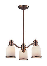 Landmark Lighting 66182-3 Brooksdale Three Light Chandelier in Antique Copper - Peazz.com