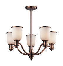 Landmark Lighting 66183-5 Brooksdale Five Light Chandelier in Antique Copper - Peazz.com
