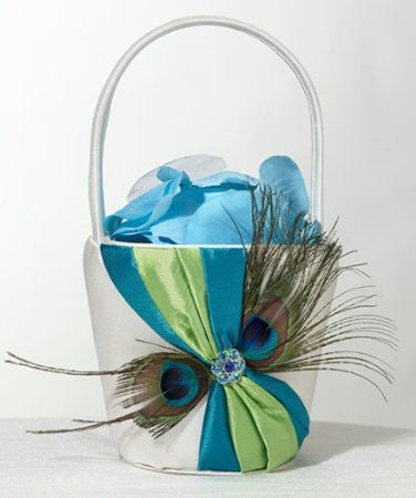 Lillian Rose FB234 Peacock Flower Basket LRO-FB234