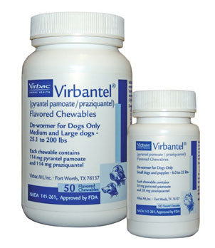 Virbantel Chewable Tablets For Small Dogs and Puppies, 50 Tablets - Peazz.com
